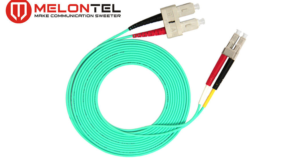 Green SC LC Patch Cord 3.0mm Diameter, Duplex OM3 Pigtail Multi Mode pemasok